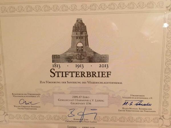 2010 – Erwerb eines goldenen Stifterbriefes vom Völkerschlachtdenkmal